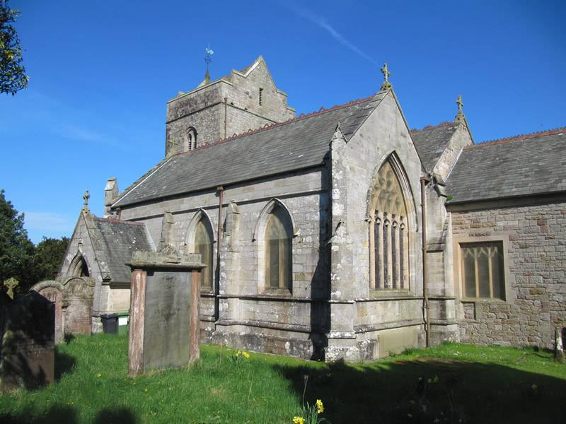 The church showing the South aisle and East window, the tower behind